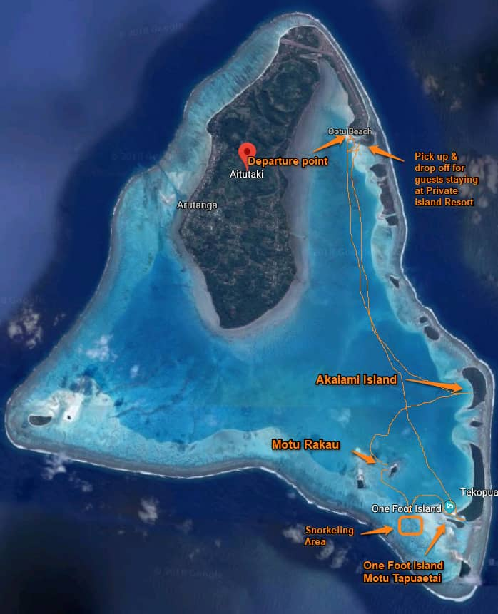 Typical Cruise Map for the Vaka Cruise on Aitutaki's lagoon